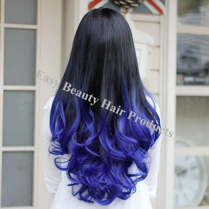 Synthetic Wavy Half Wigs T1bblue Ombre Colored Hair None Lace Wigs