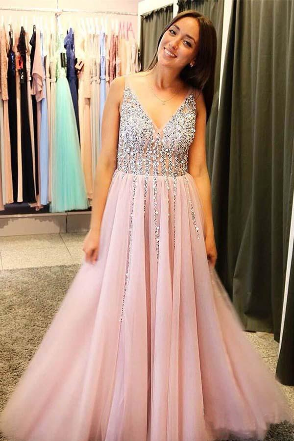 Blushing Pink Tulle A-line Long   Prom     Dresses   Sleeveless Beaded Sexy V Neck Low Back Illusion Top Teens   Prom   Evening Gowns