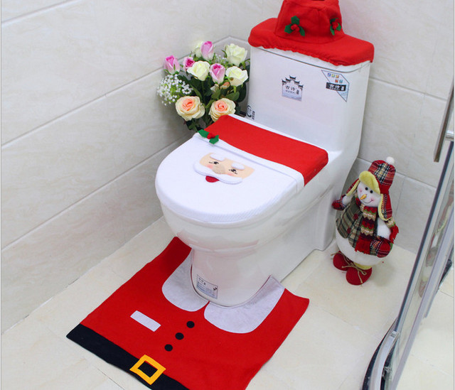 Funny Snowman Pattern Christmas Toilet Seat Cover And Rug Set For Home Decoration