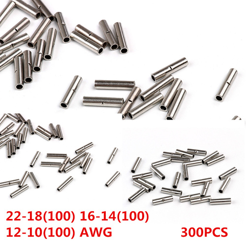 300 Uninsulated Car Wire Butt Connectors 12-10 16-14 22-18 Ga AWG Gauge Terminal