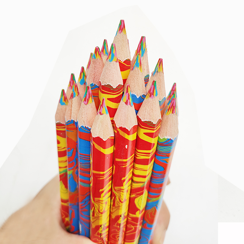 Cute Art Colored Pencil 4 in 1 Multicolor Wooden Pencils for Drawing Graffiti Pen Kids Crayon Marker Pens Office School Supplies(China)