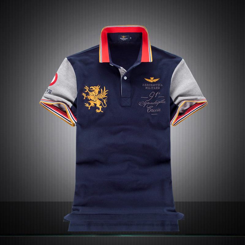 2018 Novas Camisas Polo dos homens do Estilo da forma 100% Algodão bordado Aeronautica  militare c0368c4da7cae