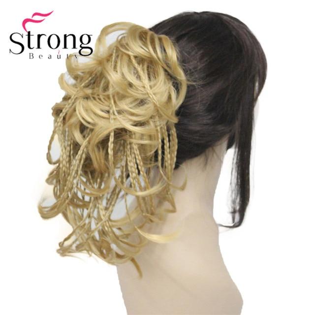 StrongBeauty قصيرة صغيرة الضفائر مزين مستقيم متموجة شعر مستعار لعمل تسريحة ذيل الحصان هيربيسي المخلب كليب اللون الخيارات