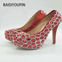 2017 Fashion New Round Red Crystal Wedding Shoes High Rhinestone Shoes Bridal Shoes Red Wedding Shoes