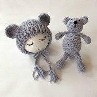 Crochet Teddy bear doll&hat,crochet bear toy,handmade photography props,baby photography accessories