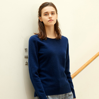 2018 Autumn and Winter Women's Pure Color O-Neck Slim Fit Cashmere Sweater