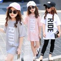 Summer T-Shirts Girls Children's Short Sleeve T-shirt Long Style Girl Cotton T shirts Camisetas mujer verano 2017 Teenager Tees