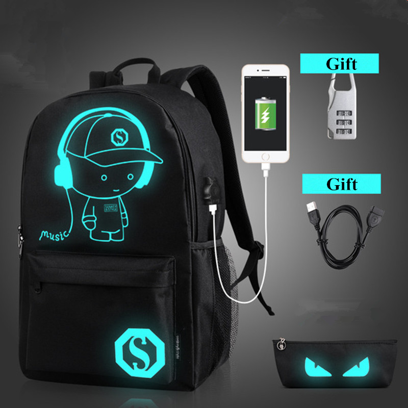 School Anti Theft Backpack Male Student Luminous Animation School Bags For Teenager USB Charge Laptop Backpacks bolsas feminina men usb charge backpack anti theft laptop backpacks large capacity fashion school bags boys teenager casual rucksack bag bp0165