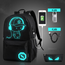 hot deal buy fashion school backpack student luminous animation school bags for teenager usb charge laptop backpacks leisure travel bags