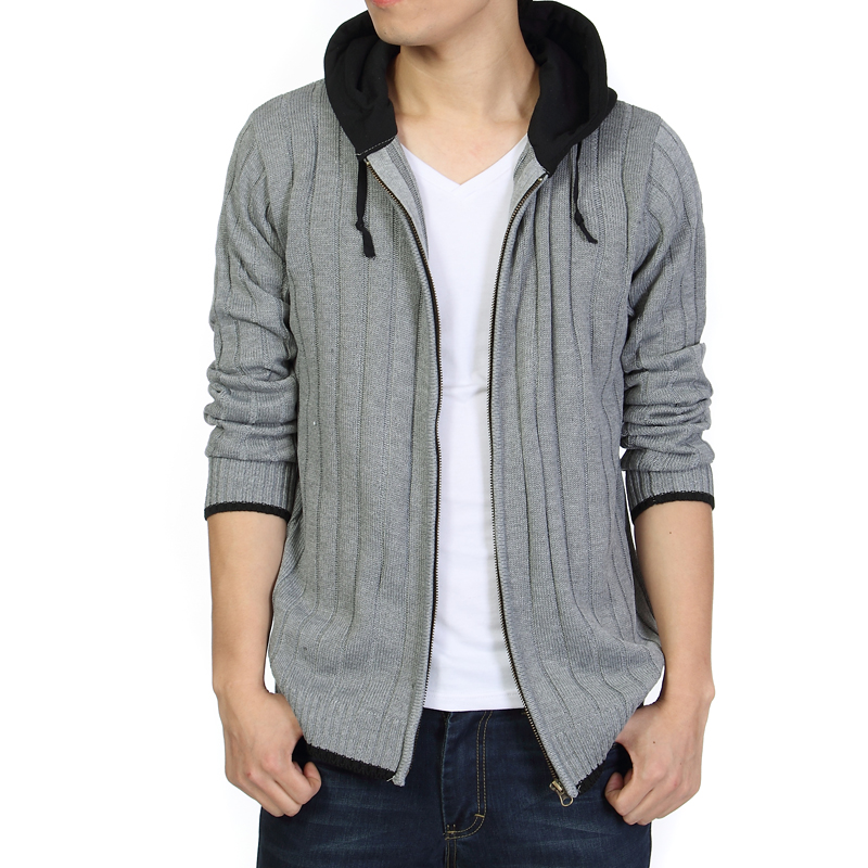 Men Much Warm Sweatercoat Winter Black Grey Cardigan Striped Sweaters With Hat High Quality Thick Jacket Plus Size 4XL 5XL 6XL