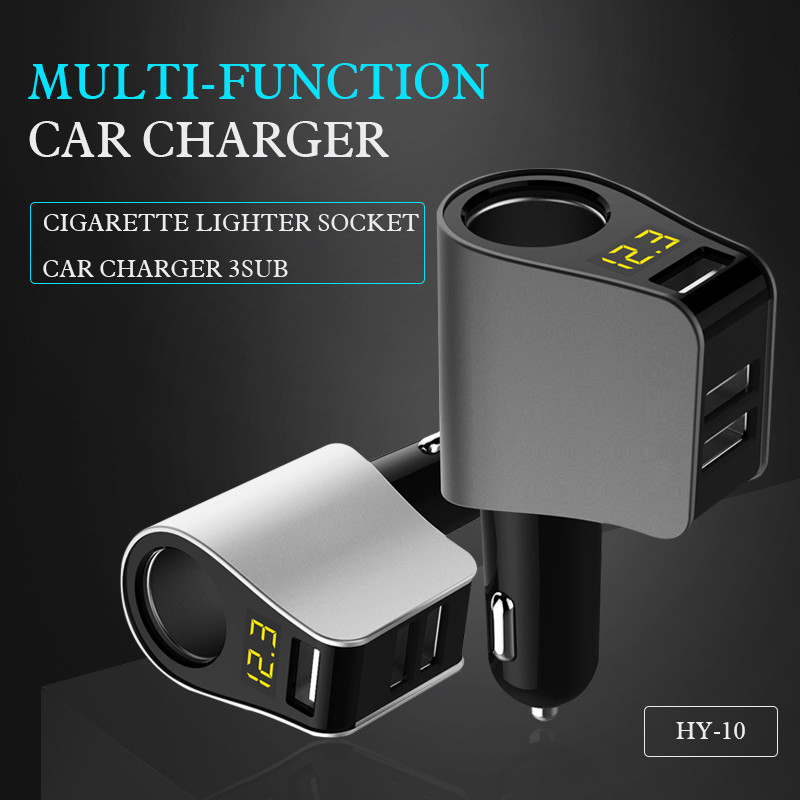 3USB 4 in 1 Fast Car Charger Real-time Monitor Display Screen Cigarrette Lighter suitable for cellphone GPS,IPod,Pad,Universal