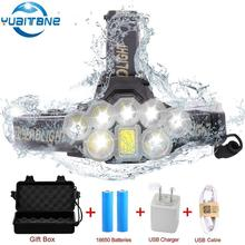 40000 Lumens LED Headlight COB 2* T6+5*XPE LED headlamp 6 Modes USB Rechargeable Head Lamp Torch By 2*18650 batteries skywolfeye f526 led headlamp 9000lm xml t6 2x xpe 3 led rechargeable headlight torch lamp