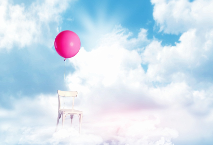 Laeacco Dreamy Balloon Cloud Decor Chair Baby Portrait Photo Backgrounds Customized Photographic Backdrops For Photo Studio