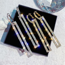 Длинные серьги подвески с кристаллами