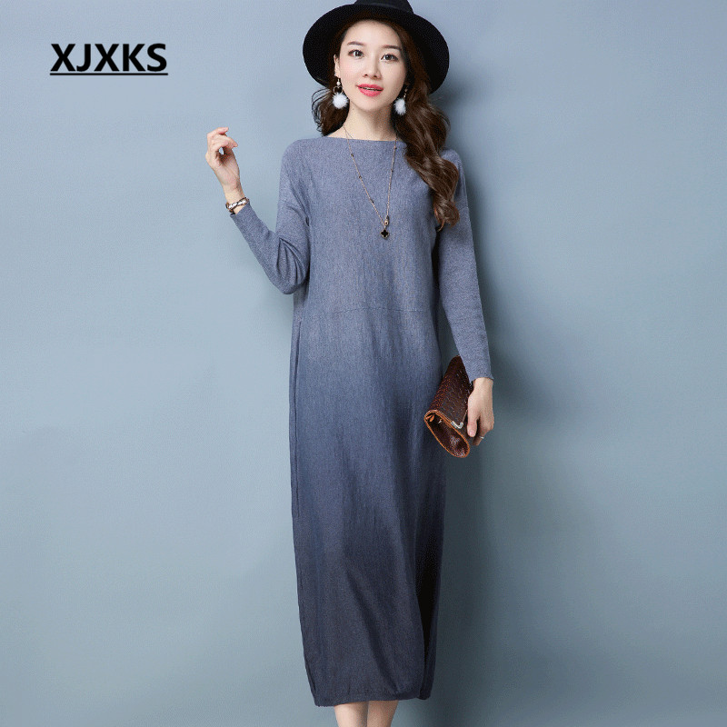 XJXKS Slash Neck Women Sweater Dresses Autumn 2018 Gradient Color Originality Knitting Casual Comfortable Straight Dress
