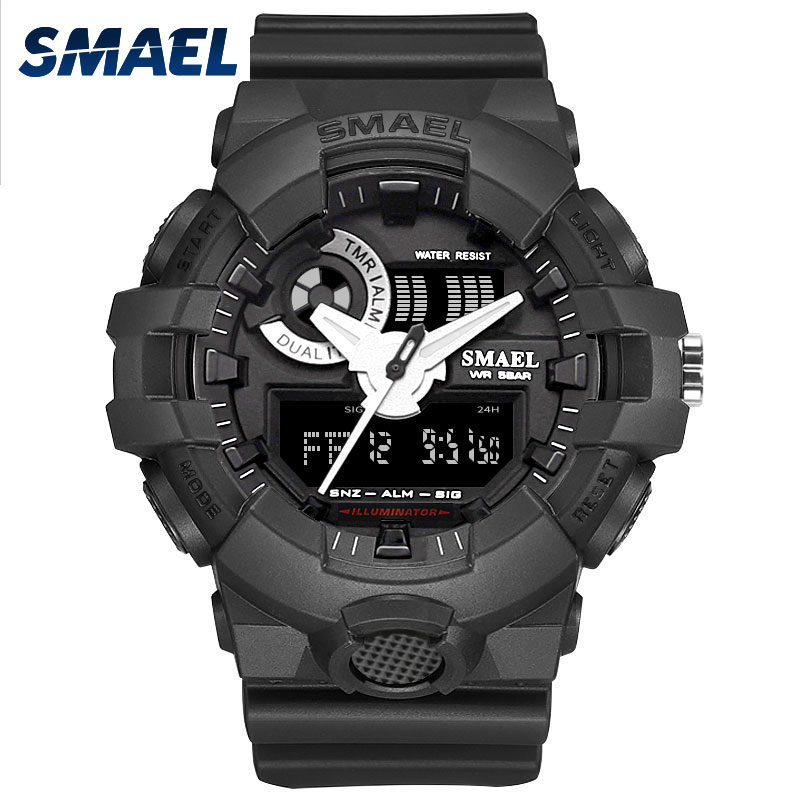 все цены на Watches Men SMAEL Sport Watch Waterproof Dual Time Running Black Clock 1642 Relogio Military Army Mens Watch Digital Male Clock