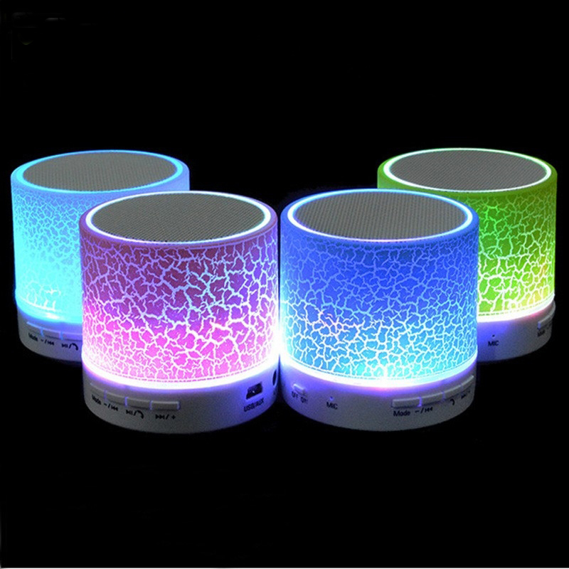 Wireless LED Bluetooth Speaker Stereo Sound Hands free Call Mini Portable Light Subwoofer Loudspeakers Music Audio With Mic TF