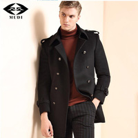MUDI Cool Mens Wool Coat Winter Warm Coat New Fashion Slim Fit England Style Overcoat Double Breasted Dust Coats Wool Blended