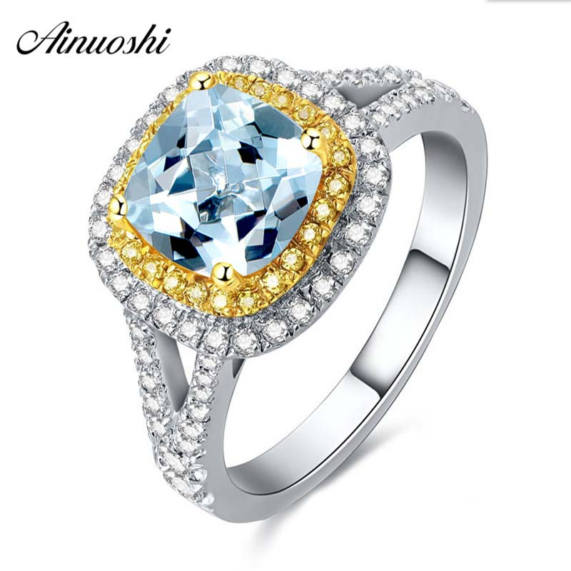 2.5 Carat Princes Cut Natural Gemstone Halo Ring Pure 925 Silver Natural Blue Topaz Yellow Gold Color Square Halo Ring