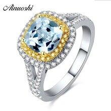 купить AINUOSHI 2.5 Carat Princes Cut Natural Gemstone Halo Ring Pure 925 Silver Natural Blue Topaz Yellow Gold Color Square Halo Ring дешево
