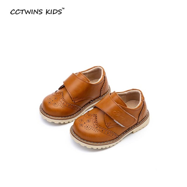 CCTWINS KIDS 2017 spring children fashion black Brogue for baby girl kid brand toddler pu leather shoe flat  loafer ankle oxford
