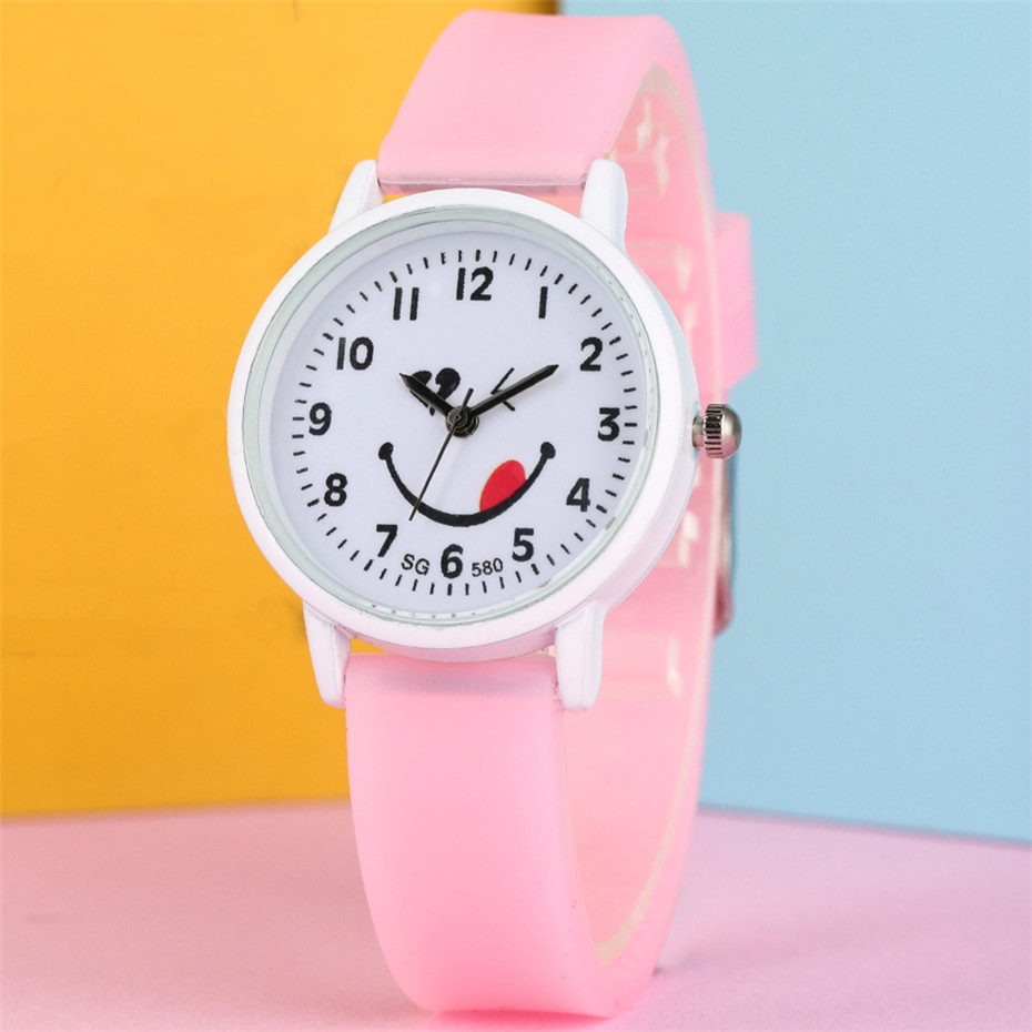 Funny Smile Tongue Round Dial Quartz Kids Watches Sugar Color Silicone Waterproof Wristwatches Lovely Children's Watches Gifts