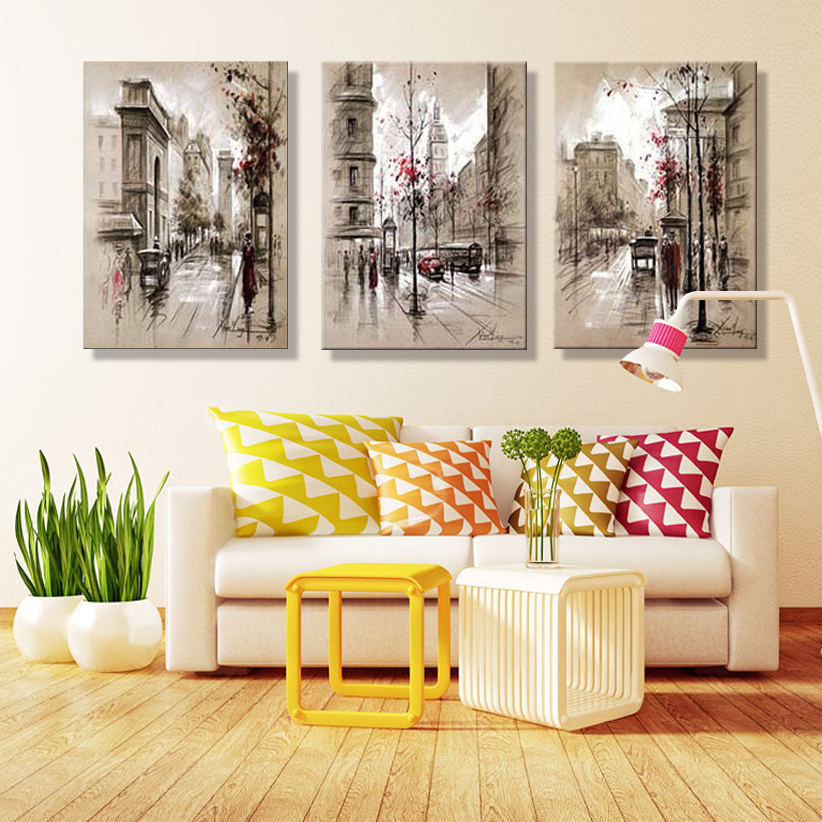 Home decor canvas painting abstract city street landscape for Home decor 86th street
