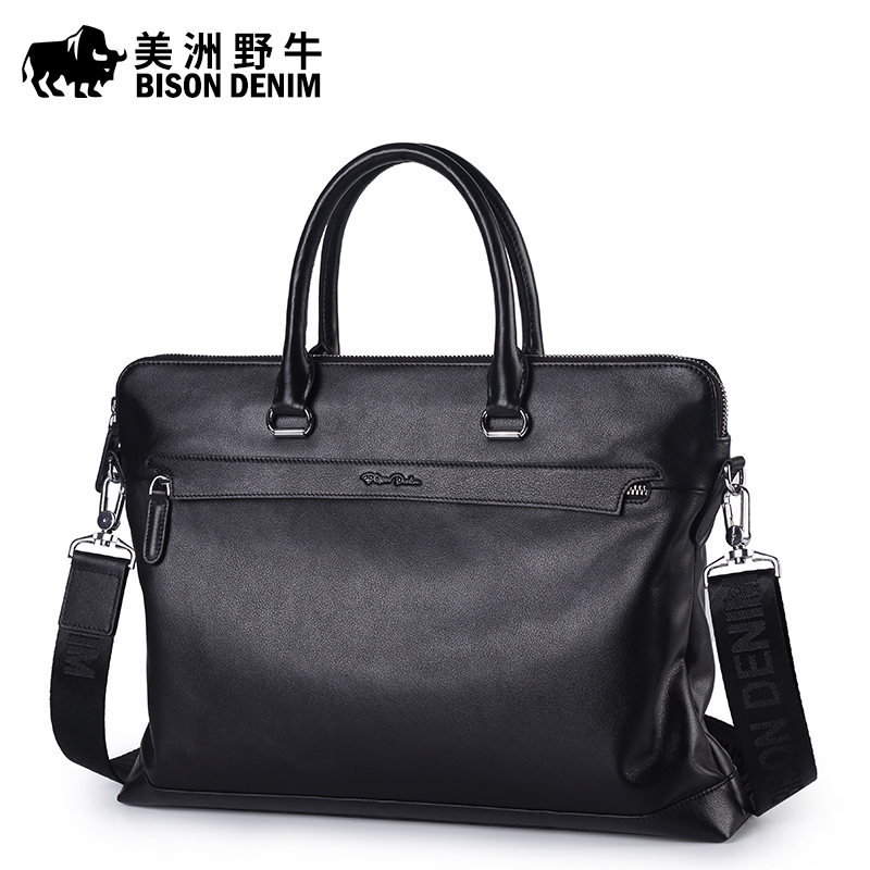 Brand BISON DENIM Men's Briefcases Men Shoulder Bags Brand Genuine Leather Handbag Cowhide Messenger Bag Travel Tote Laptop Bags lacus jerry genuine cowhide leather men bag crossbody bags men s travel shoulder messenger bag tote laptop briefcases handbags