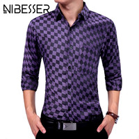 NIBESSER 2017 Spring Autumn New Men Shirts Casual Checkerboard Pattern Long Sleeve Turn Down Collar Single Breasted Male Shirts