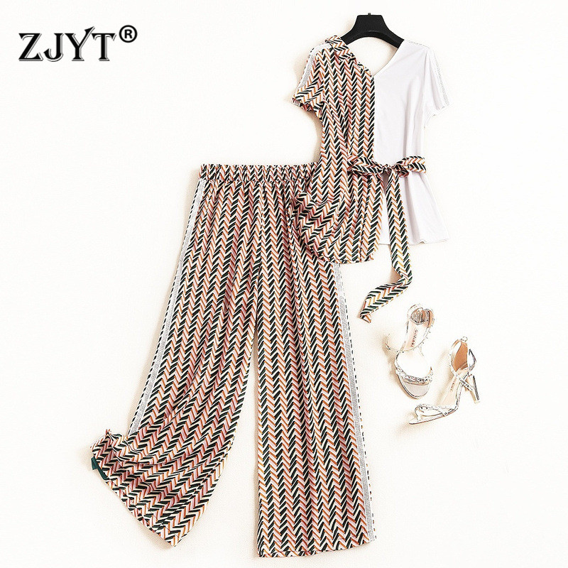Summer Fashion 2 Piece Set Women 2019 New Designers Casual Outfits Short Sleeve Color Block Bandage Top and Pants Matching Sets