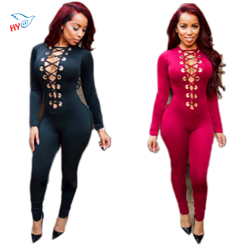 New 2016 Rompers Womens Jumpsuit Sexy Tight Bandage Deep V-neck Siamese Pants Long Sleeve Solid Bodysuit Bodycon Tops Plus Size
