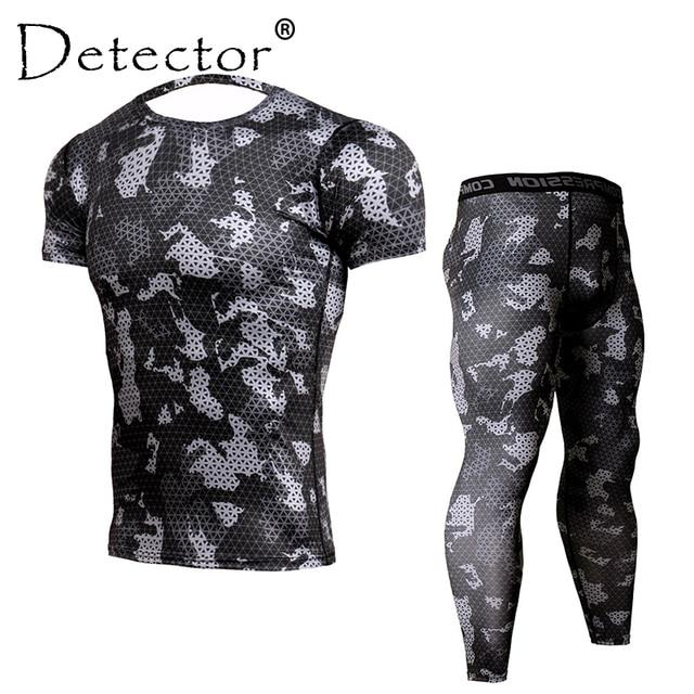 Détecteur hommes Compression chemise pantalon ensemble entraînement Fitness vêtements de Sport musculation serré manches courtes chemises Leggings Sport costume