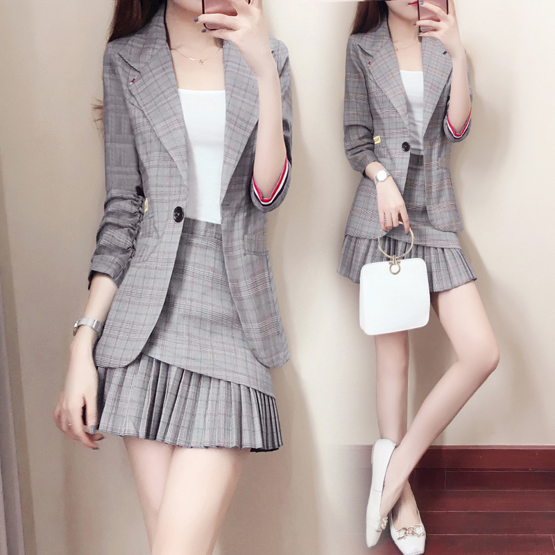 Small suit set skirt suit women's style Korean fashion ladies temperament spring and autumn suit + pleated skirt two-piece set