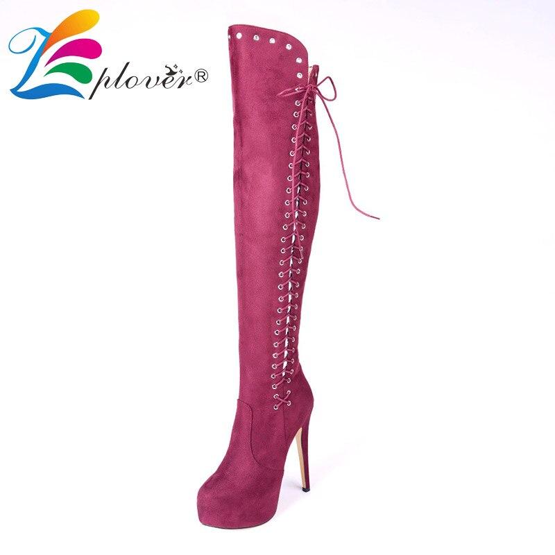 Winter Shoes Women Platform Knee High Boots Red Zip High Heels Shoes Woman Botas Zapatos Mujer Short Plush Warm bota feminina