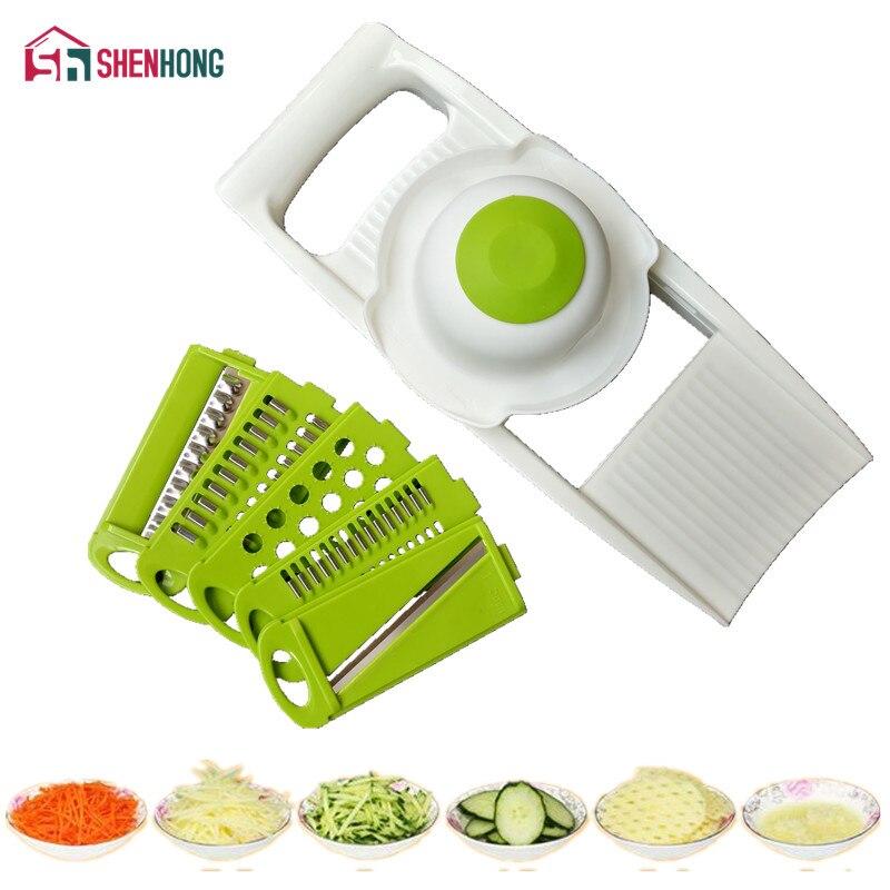 Shenhong mandoline slicer cortador de verduras con 5 cuchillas de acero inoxidable rallador cebolla Dicer slicer cocina Accesorios