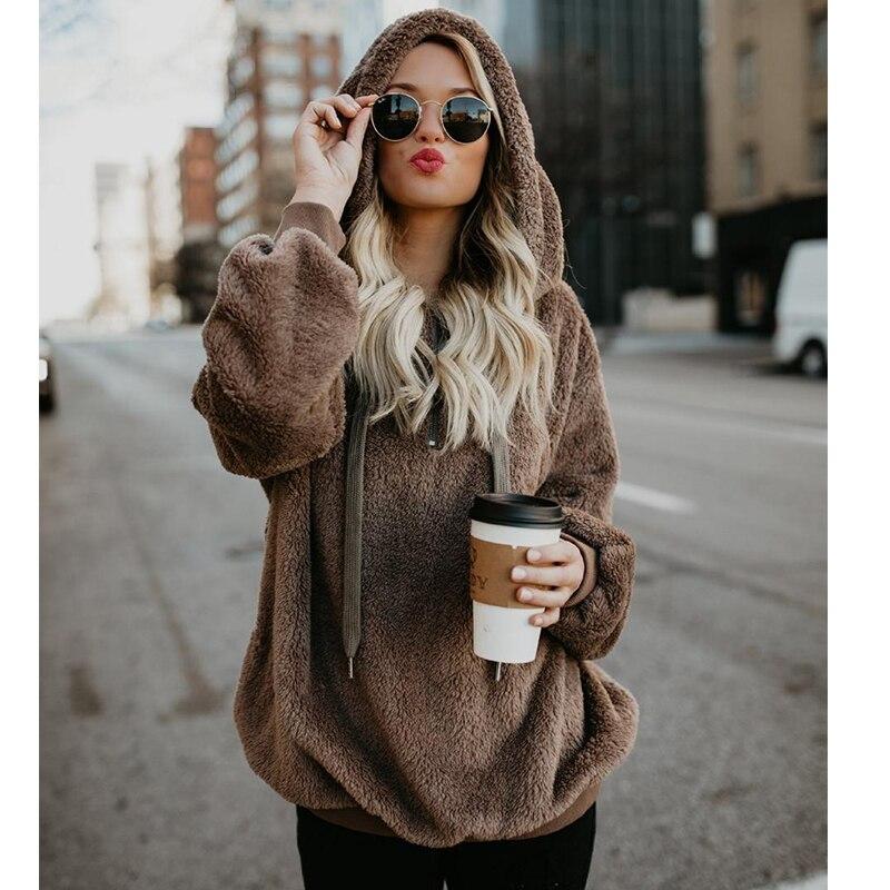 5XL Plus Size Fleece Pullover Women Hooded Womens Sweaters 2018 Winter Autumn Sweater Women Hooded Sweaters Pull Femme Hiver