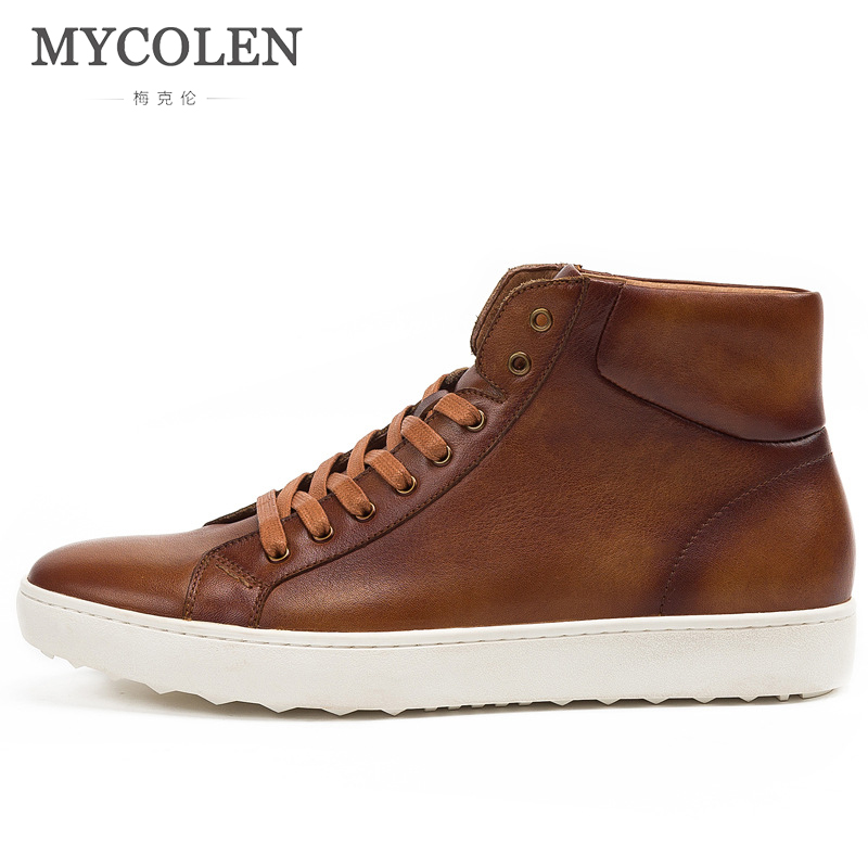 MYCOLEN 2018 Hot Men Shoes Fashion Spring Men Boots Autumn Leather Footwear For Man New High Top Canvas Casual Shoes Men вытяжка gorenje whc923e16x