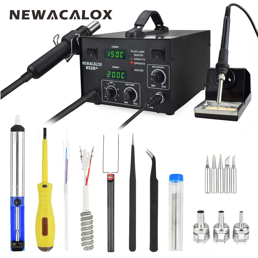 NEWACALOX 600W 220V EU Digital Electric Soldering Station Hot Air Rework Station Heat Gun Solder Iron Welding Tool+Nozzle Tweeze