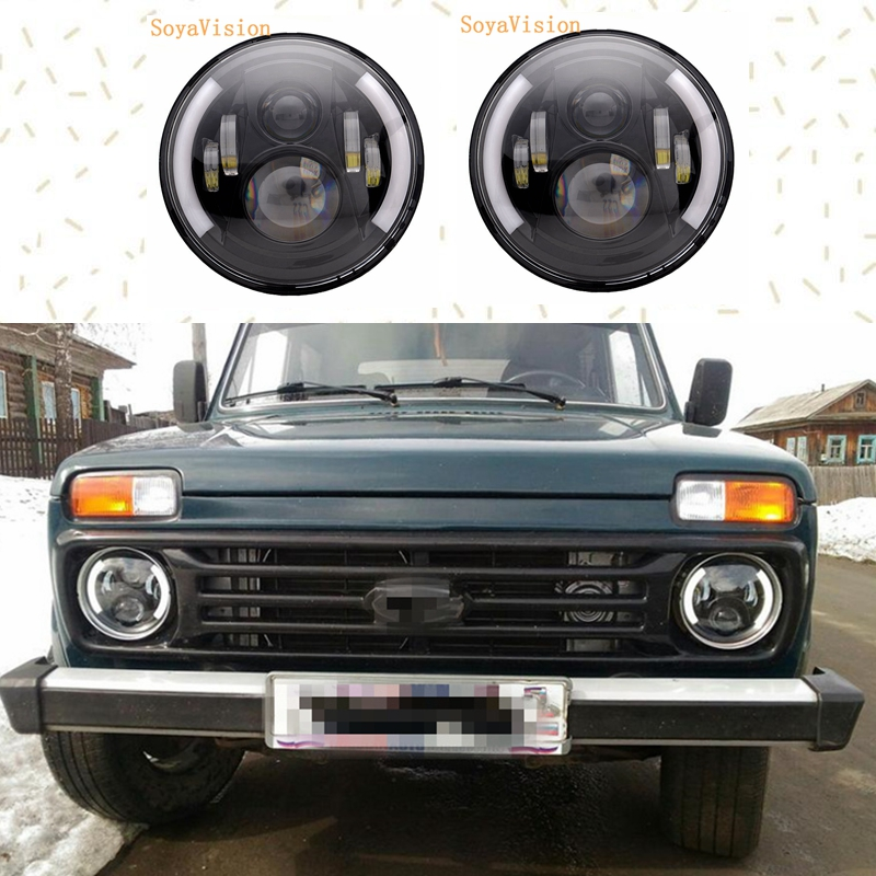 7Inch Round LED Headlight Halo Ring Angel Eye DRL Amber Turn Signal Projector