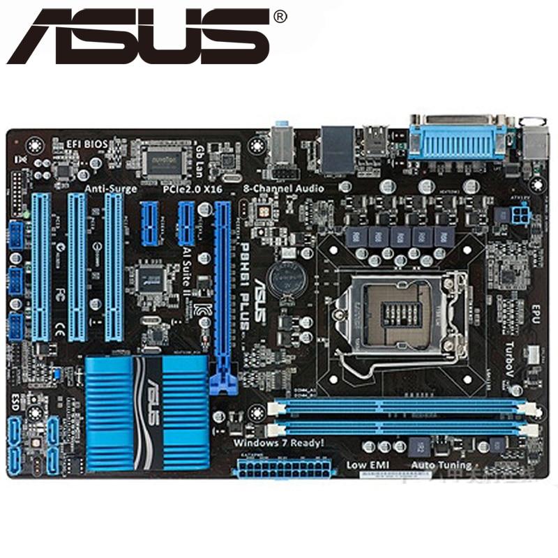 ASUS p8h61 плюс рабочего Материнская плата H61 разъем LGA 1155 i3 i5 i7 DDR3 16G uatx UEFI BIOS оригинальный использовать платы на продажу