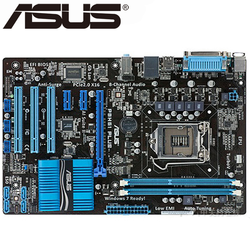 Asus P8H61 PLUS Desktop Motherboard H61 Socket LGA 1155 i3 i5 i7 DDR3 16G uATX UEFI BIOS Original Used Mainboard On Sale asus p8b75 m lx desktop motherboard b75 socket lga 1155 i3 i5 i7 ddr3 16g uatx uefi bios original used mainboard on sale