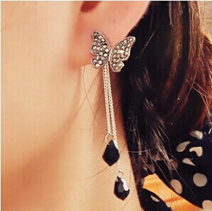 Korean Jewelry Black Butterfly Pendant Tassel Earrings E113