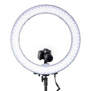 Image 2 - FOSOTO RL 18 oświetlenie fotograficzne ściemniana obręcz lampa pierścień aparatu lampa Led Ringlight z stojak trójnóg na telefon Youtube makijaż