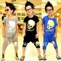 Оптовая продажа-Мальчики прохладно костюмы детей черепа С Коротким Рукавом футболки + Бриджи 2 Шт. костюмы лета малышей устанавливает популярная одежда 5S/l