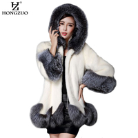 faux fur coat women white gray with fur hat fur jacket mink luxury women long coat Imitation fur jacket women coat 6XL PC166
