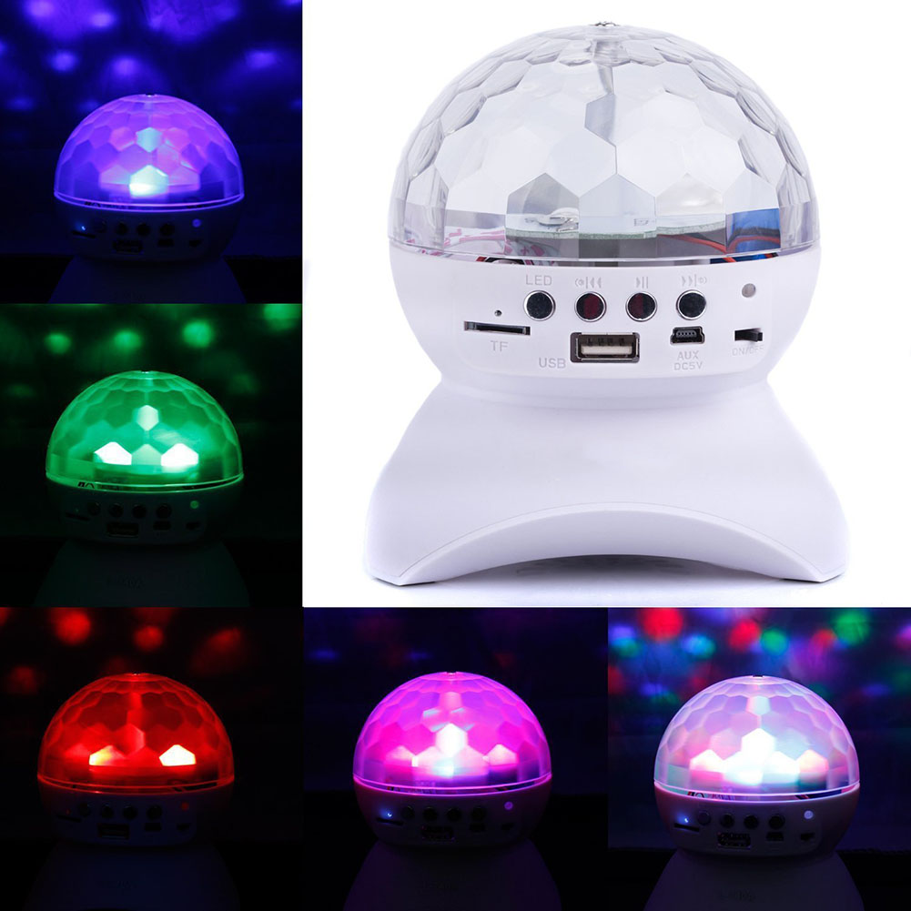 RGB LED Stage Light Xmas Party Effect Light Magic KTV Bar DJ Disco Ball Light LED Bluetooth Speaker Support TF Card FM U disk ws 980 car model style portable 2 channel rgb light speaker w fm tf black transparent