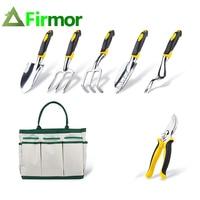 FIRMOR 6 Pcs Garden Tools Set Including Trowel Cultivator Weeding Fork Weeder and Secateur with Carry bag