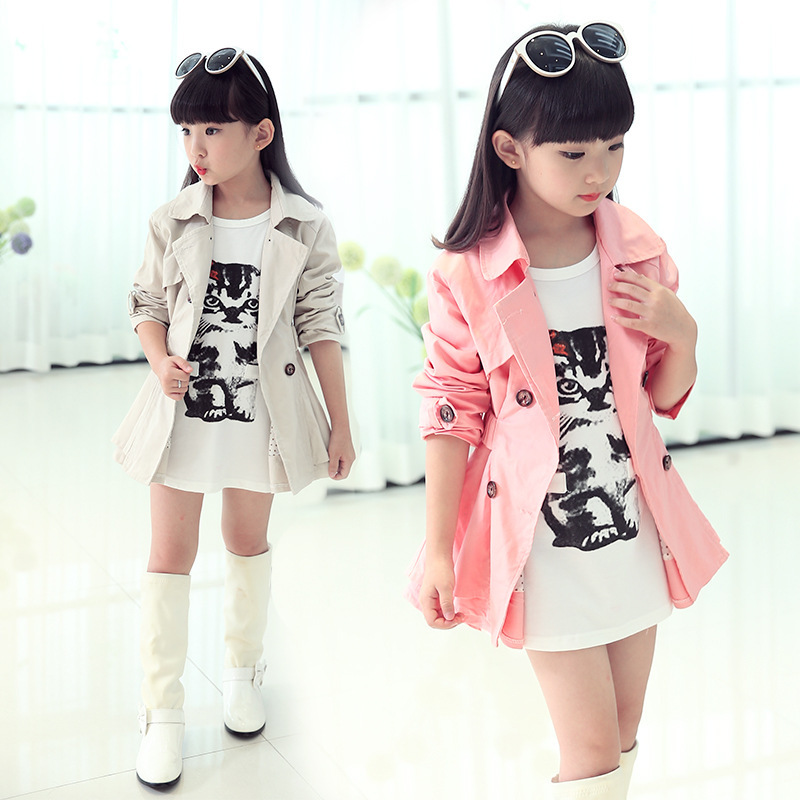 INS hot Girls   trench   5-13 year old cotton Solid color belt double breasted coat spring and autumn kids windbreaker 2 color