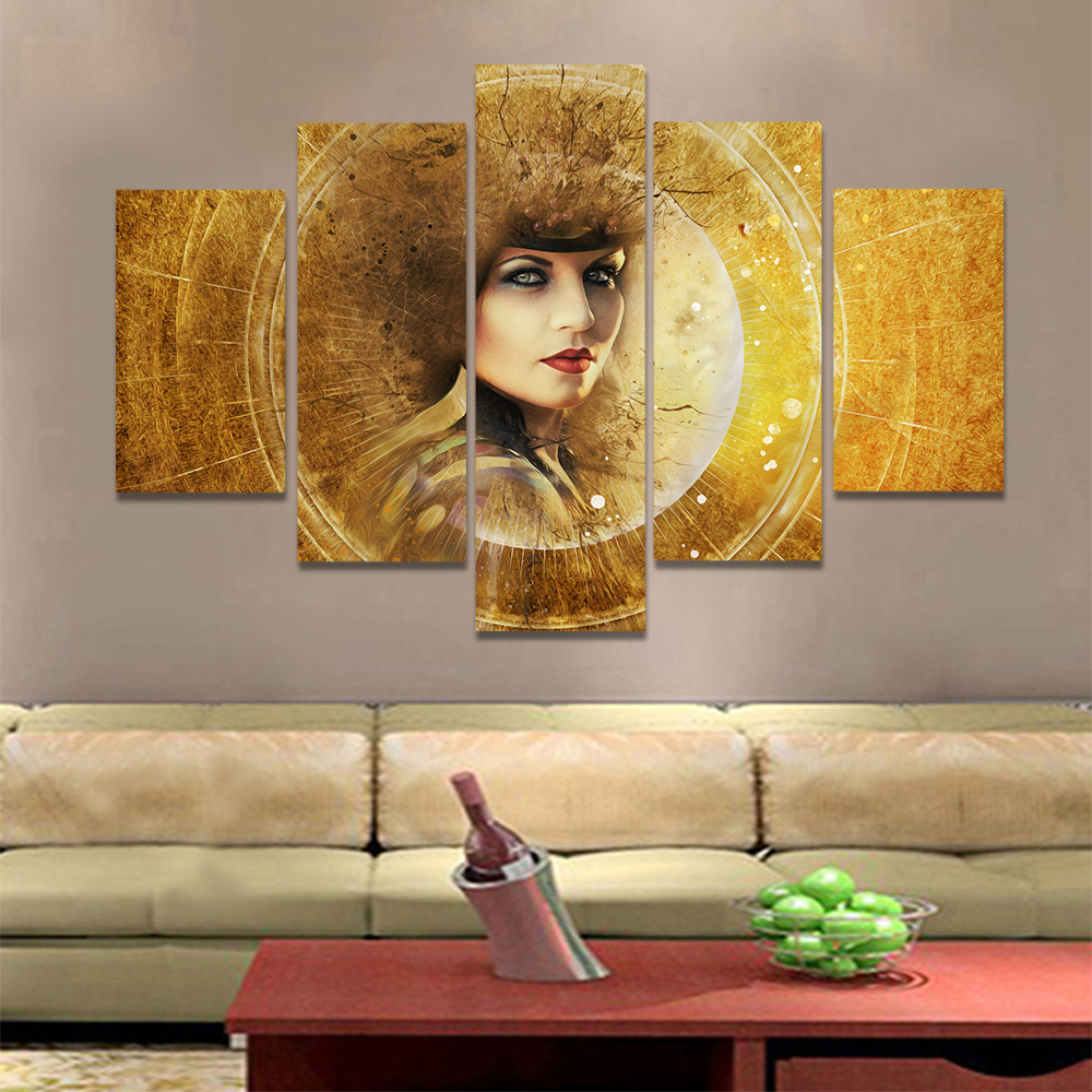 Unframed Canvas Art Painting Shine Golden Ring A Beautiful Woman Prints Wall Pictures For Living Room Wall Art Decoration