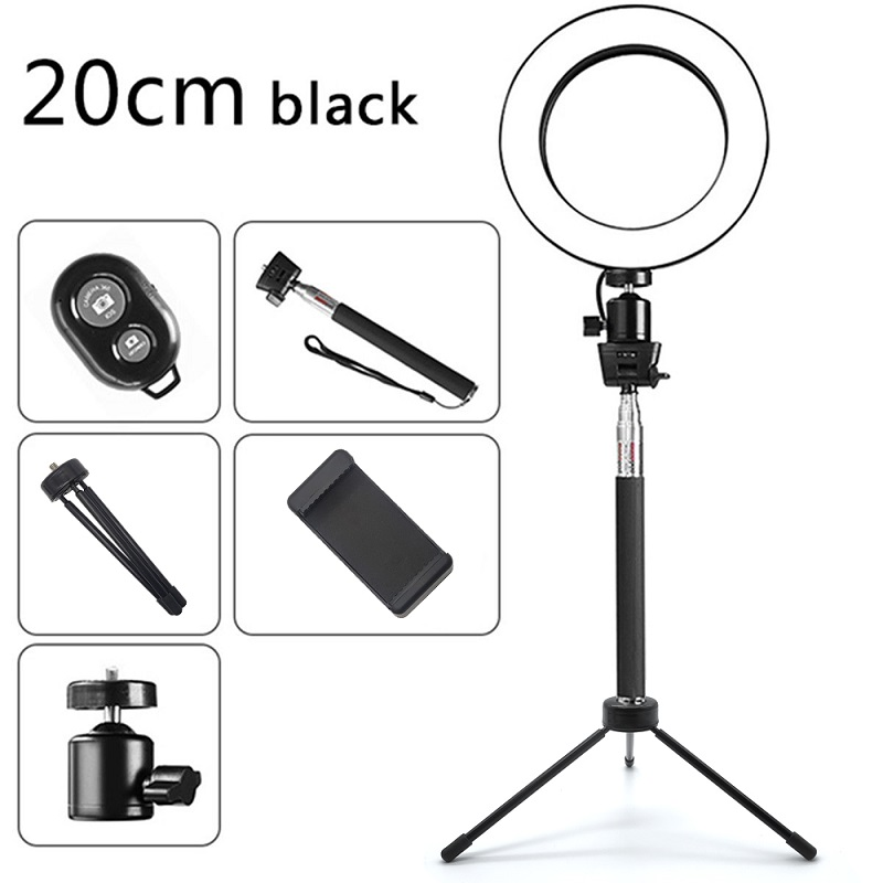 Travor USB Selfie Ring Light 8 quot With Tripod Phone Holder Bluetooth Dimmable Ring Lamp For Youtube Video Live Photo ringlight LED in Photographic Lighting from Consumer Electronics